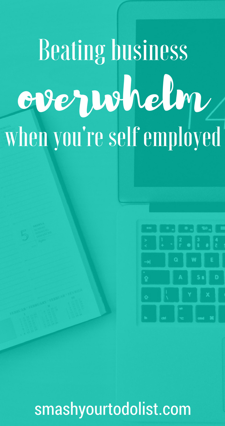 Beating business overwhelm when you're self employed can be achieved by following these easy productivity tips. | Small business owner | entrepreneur | online business | productivity planning | stay focused | start up company | girl boss | motivational