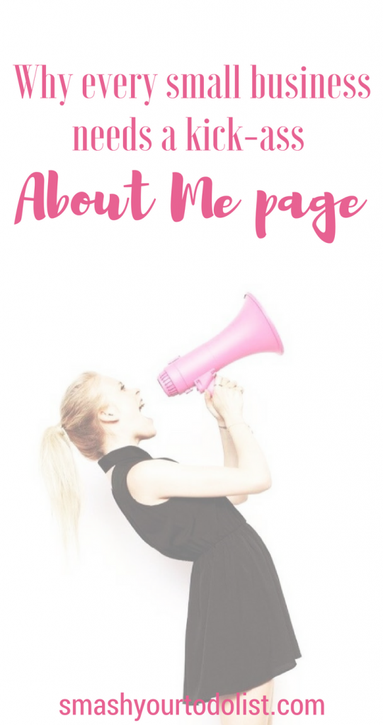 Why an about me page is essential for your website. In this article I explore what to write in an About Me page and why it is so important that you include one on your website. | Small business marketing | Web content | Grow your business | Business goals | Business planning | Web design