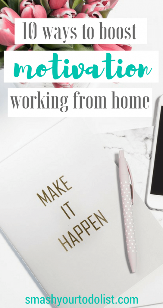 Work from home but struggle with a lack of motivation? These 10 tips will help you to stay focused working from home and keep you productive when you are self employed. Productivity tips | Freelancer | Online business | Digital nomad | Blogging for business